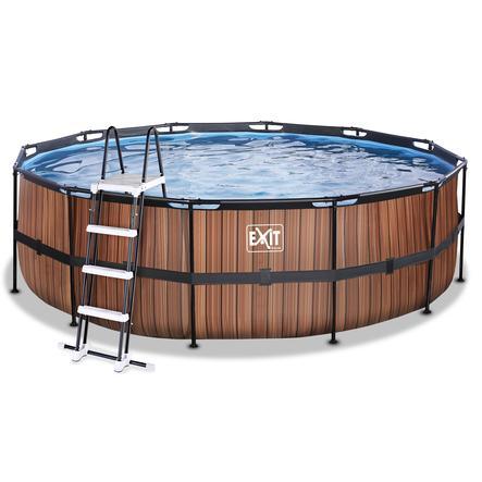 EXIT Wood Pool ø450x122cm med sandfilterpumpe, brun