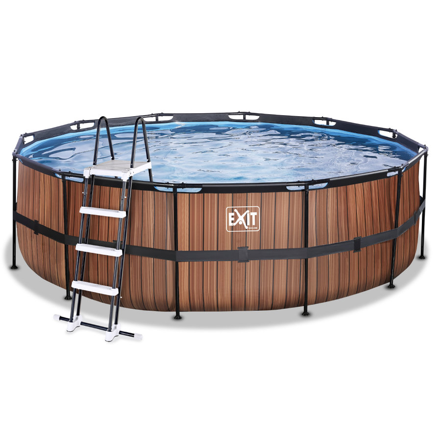 EXIT Wood Pool ø450x122cm mit Sandfilterpumpe, braun