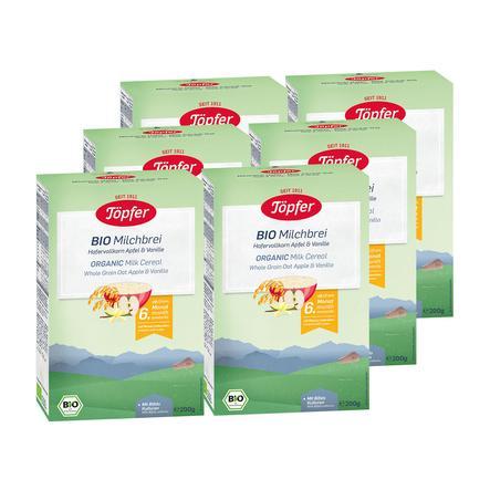Töpfer Bio Milchbrei Hafer Apfel und Vanille 6 x 200 g ab dem 6. Monat
