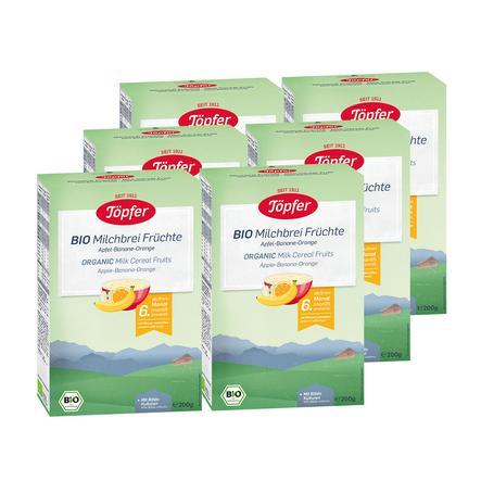 Töpfer Bio Milchbrei Früchte 6 x 200 g ab dem 6. Monat