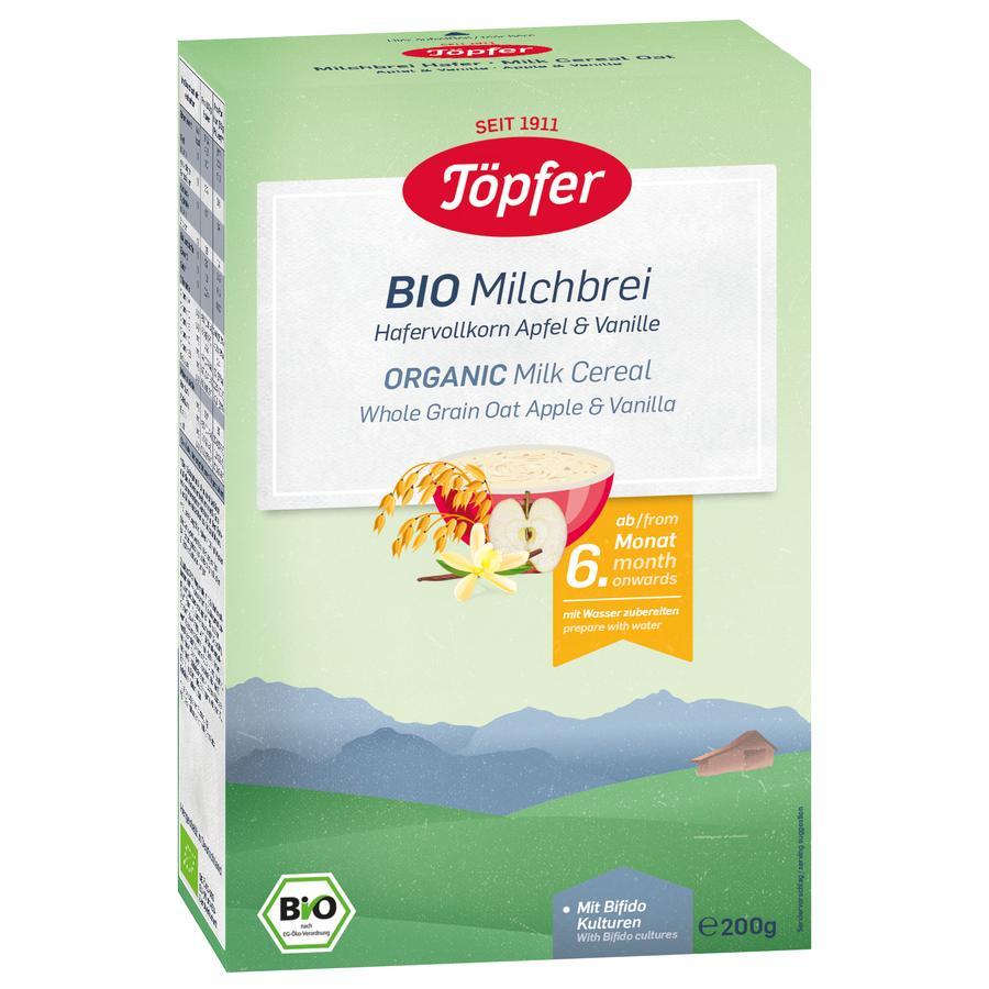 Töpfer Bio Milchbrei Hafer Apfel und Vanille 200 g ab dem 6. Monat