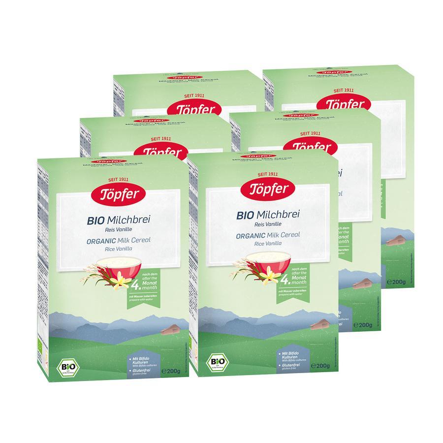 Töpfer Bio Milchbrei Reis Vanille 6 x 200 g nach dem 4. Monat