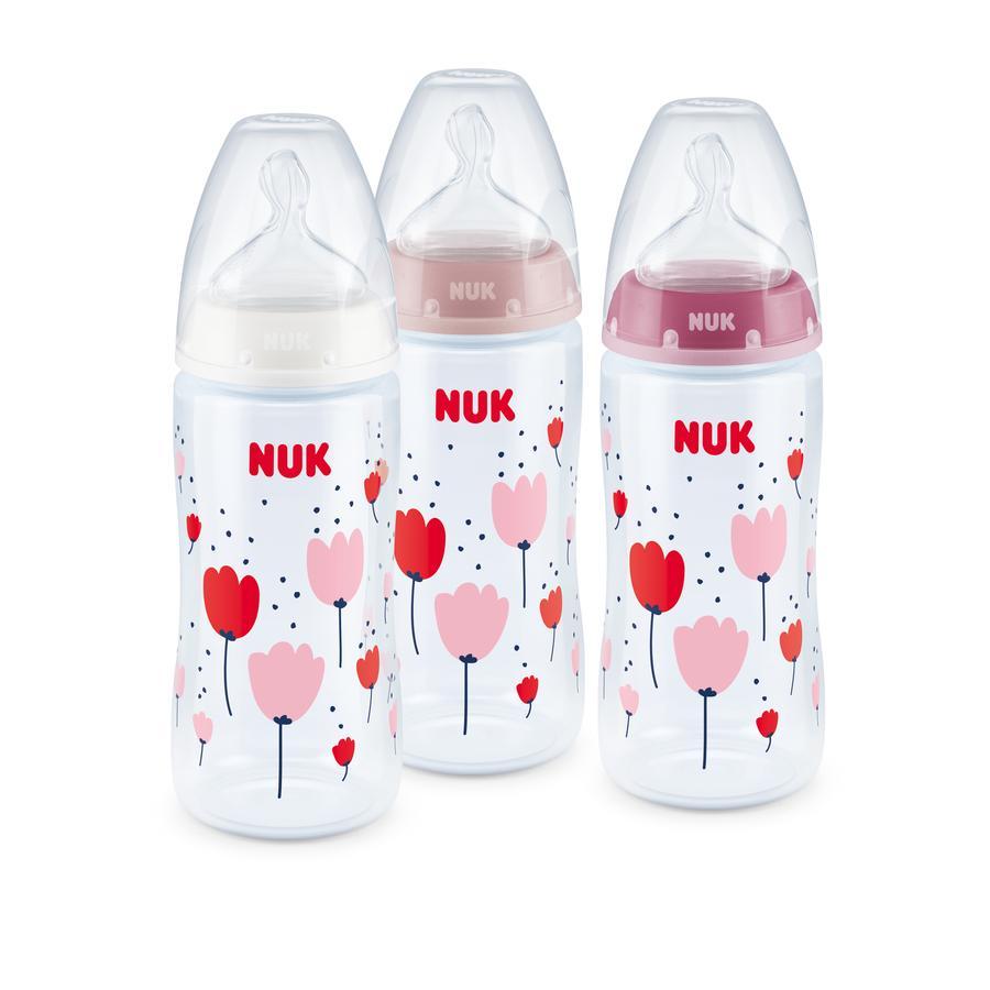 NUK Sada 3 lahví First Chioice Plus Control Control růžová