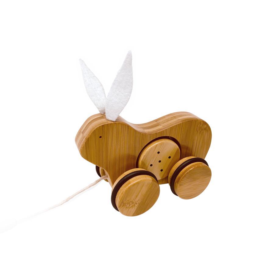 Kinderfeets® Jouet à tirer lapin, bois bambou