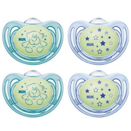 NUK Fopspeen Gratis style Night siliconen maat 3 groen/blauw 4 stuks vanaf de 18e maand