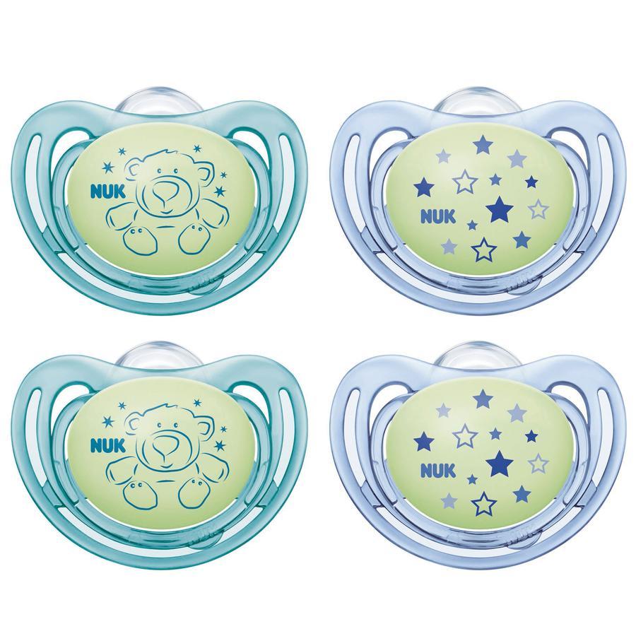 NUK Sucette style Night silicone gratuite taille 3 vert / bleu 4 pièces à partir du 18ème mois