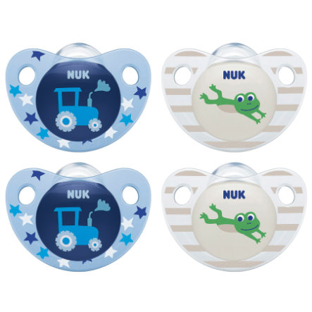NUK Dummy Trendline siliconen maat 2 blauw/groen 4 stuks uit de 6e maand