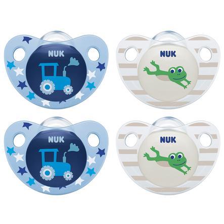 NUK Succhietto in Trendline silicone dimensione 2 blu / verde 4 pezzi dal 6° mes