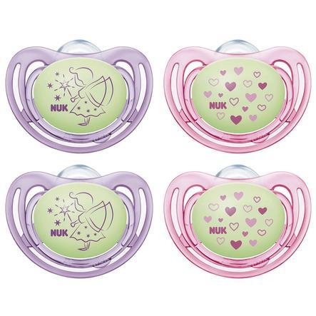 NUK Fopspeen Gratis style Night siliconen maat 2 paars / roze 4 stuks vanaf de 6e maand