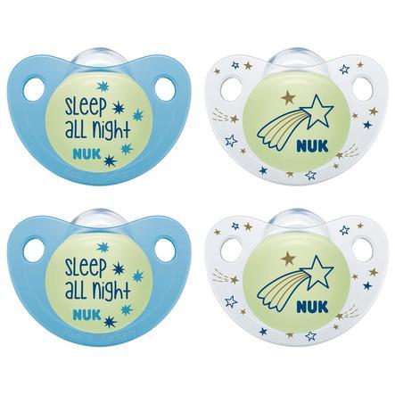 NUK Soother Trendline Night & Dag silikon blå / hvit størrelse 2 4 stykker fra 6. måned