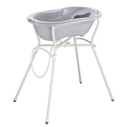 Rotho Babydesign  Zestaw pielęgnacyjny TOP 5 ze stojakiem na wannę stone grey