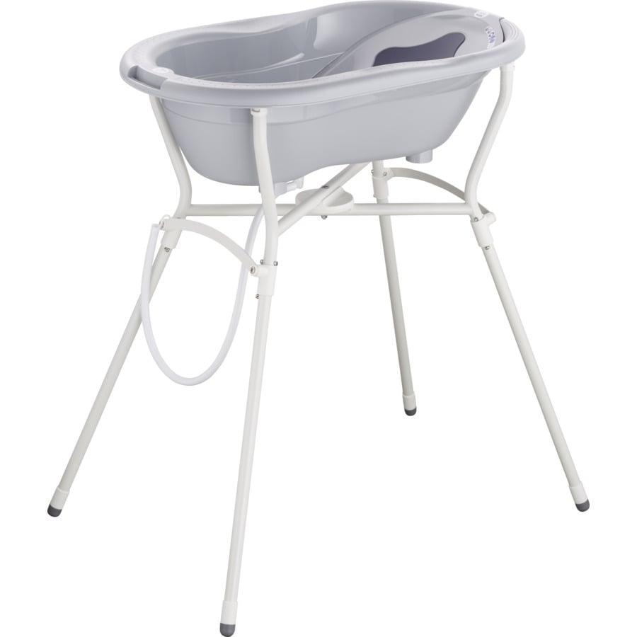 Rotho Babydesign Set de bain baignoire bébé et support TOP 4 pièces stone grey