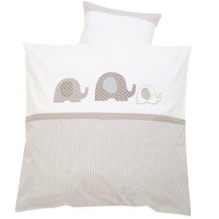 ALVI Lenzuola con ricamo - Colore: Elefantino/beige - Dimensioni: 80x80 cm