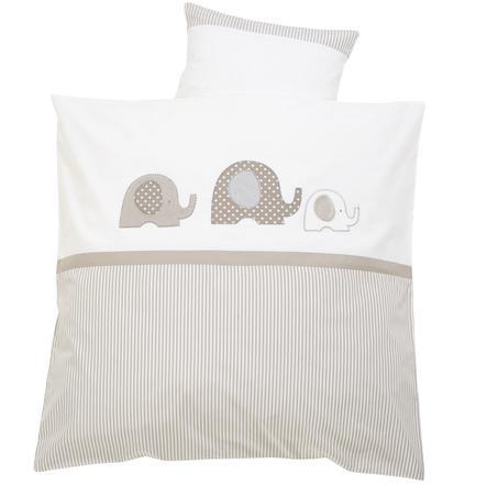 ALVI Parure de lit Éléphant, beige, 80 x 80 cm