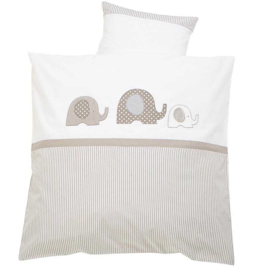 "ALVI Juego de sábanas ""Elefante"" beige 80x80 cm"