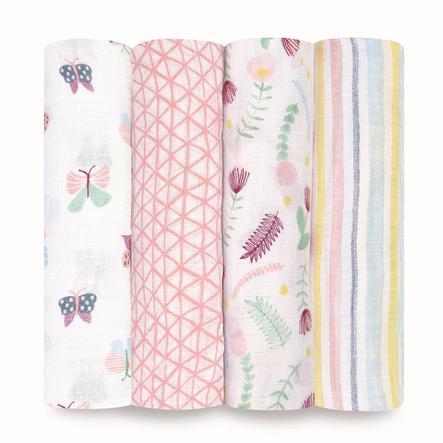 aden® Puck blomsterhåndklær fauna 4 pakke