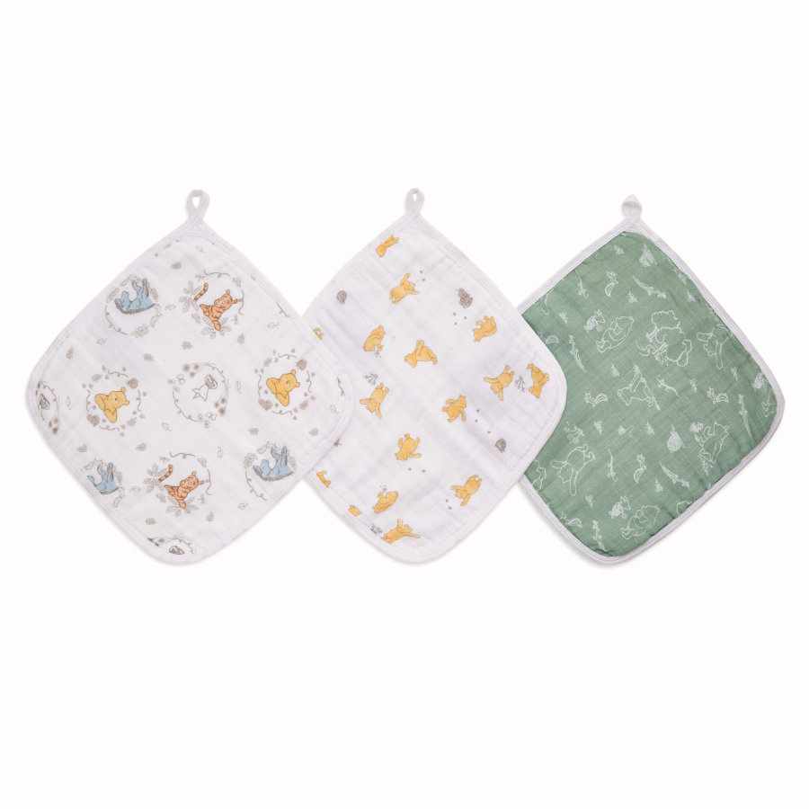 Aden by Aden+Anais® Gant de toilette enfant Disney Winnie l'ourson + friends lot de 3
