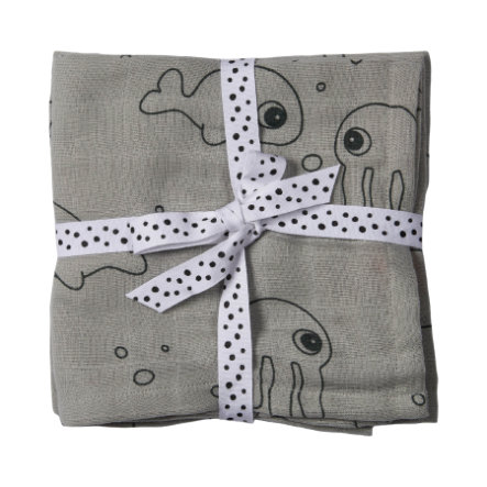 Done by Deer ™ Ręcznik na mierzeję 2-pakowy Sea Friends Grey