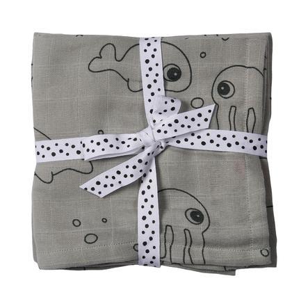 Done by Deer ™ Toalla de escupir 2 paquetes de Sea Friends Grey