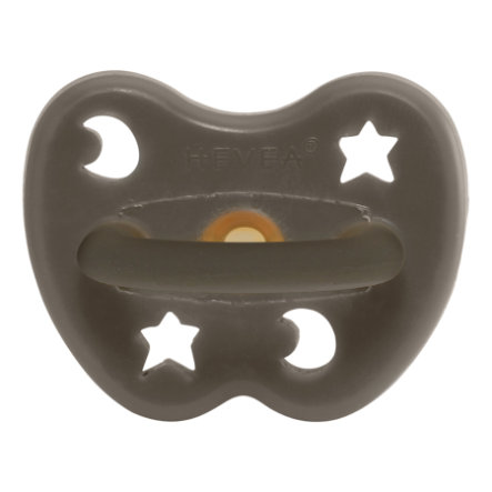 HEVEA napp - Naturgummi / Shitake Grey / egnet til kæberne / Star & Moon (fra 3 måneder)