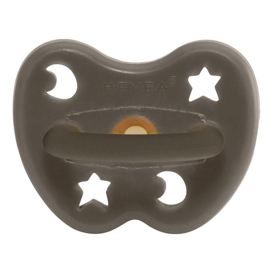 HEVEA Sucette 3 m+ caoutchouc naturel Shitake Grey/orthodontique/étoile & lune