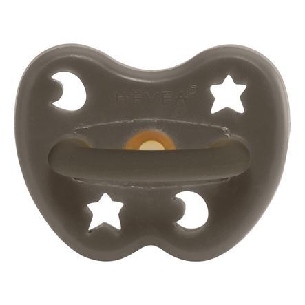 HEVEA dudlík - Přírodní kaučuk / Shitake Gray / kulatý / Hvězda a Měsíc (0-3 Po)