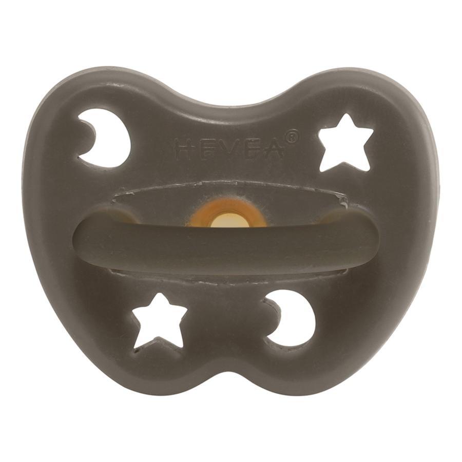 HEVEA napp - Naturgummi / Shitake Grey / round / Star & Moon (fra 3 måneder)