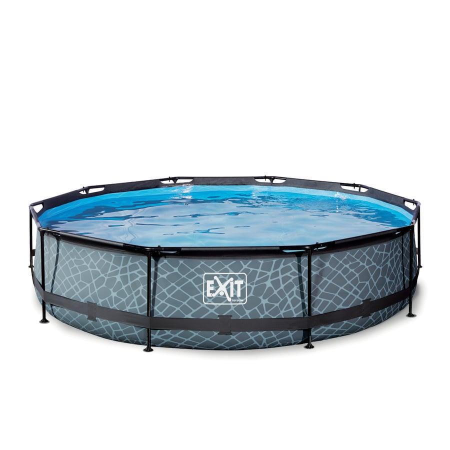 EXIT Stone Pool ø 360 x 76 cm mit Filterpumpe - grau
