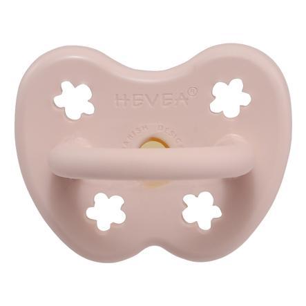 HEVEA dudlík - přírodní kaučuk / růžový / kulatý / květ (0-3 měs.)