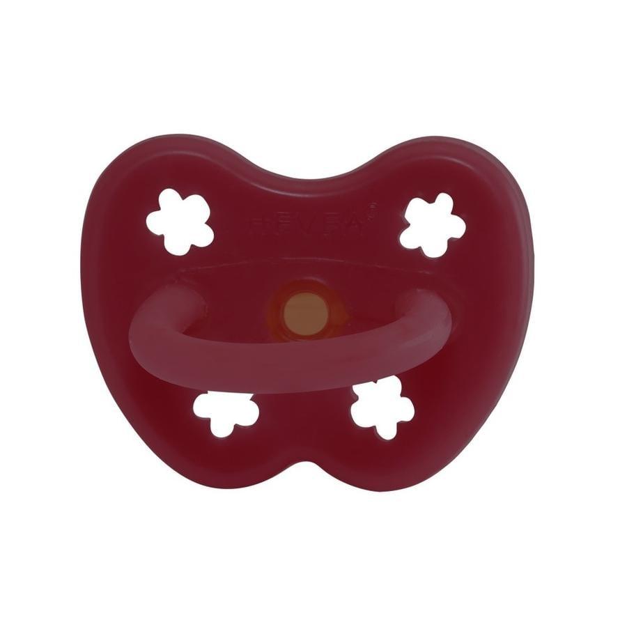 HEVEA Pacifier - Naturgummi / Rubin Red / round / flower (fra 3 måneder)