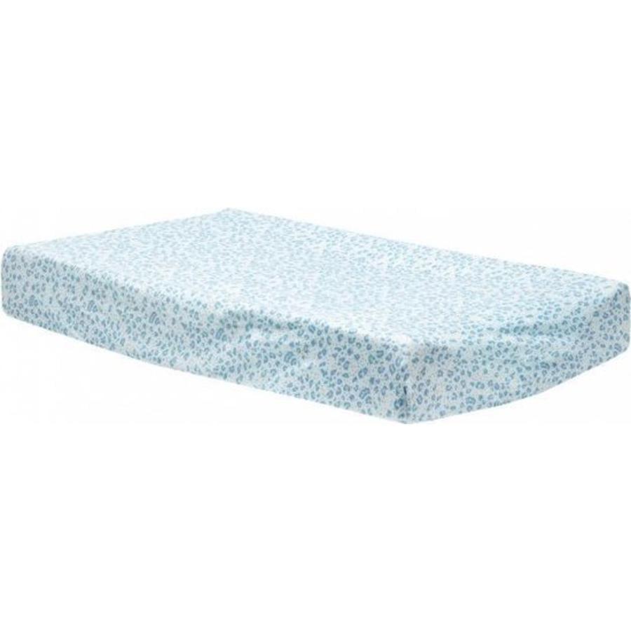 bébé jou® Housse de matelas à langer Jersey léopard bleu 75x45 cm