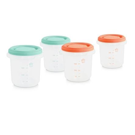 miniland Opbevaringsbeholder sæt 4 hermisiseret grøn / orange 250 ml