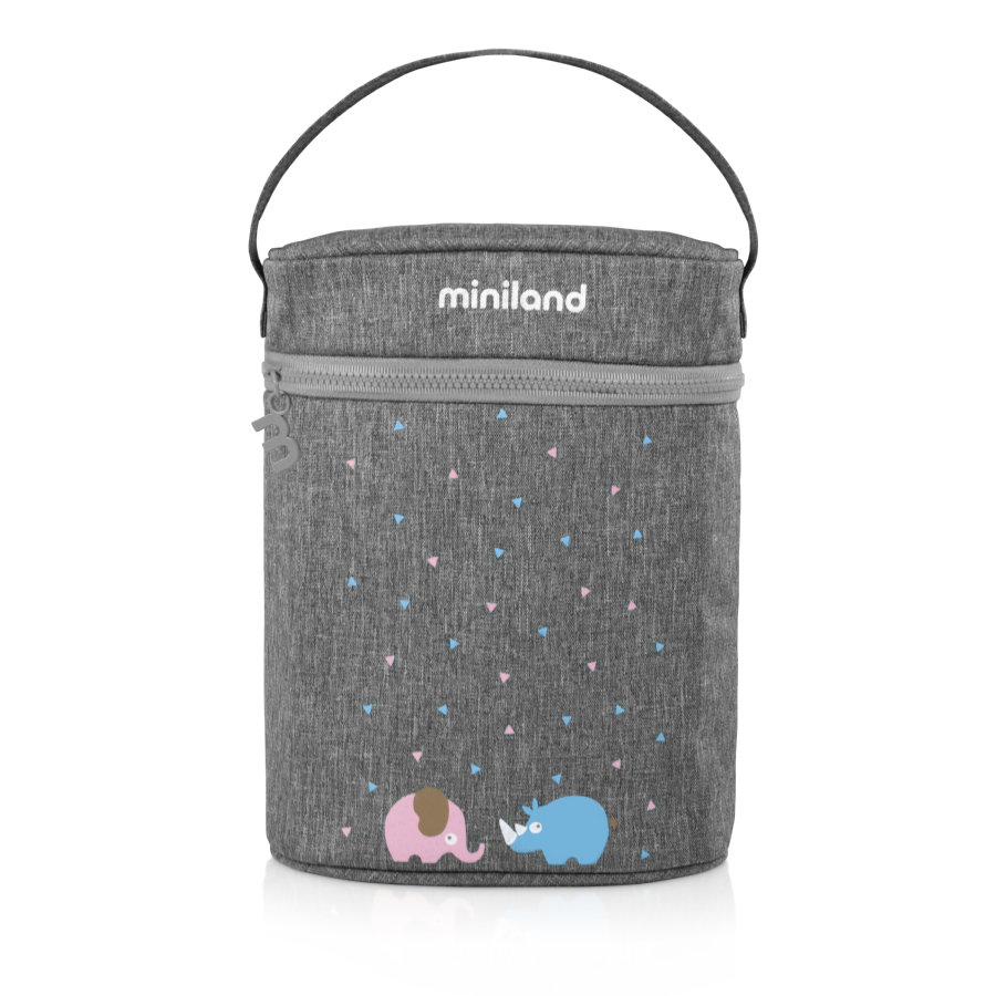 miniland dubbele warmhoudzak thermosfles voor babyflessen en thermosflessen grij
