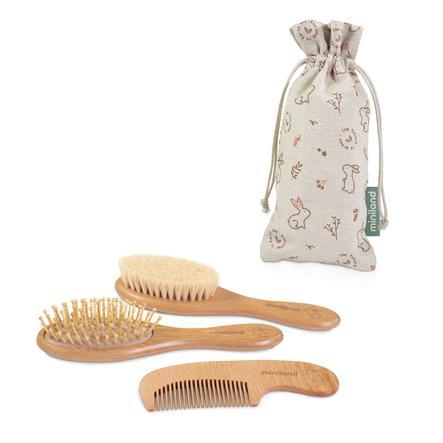 miniland Juego de cepillo suave de conejo, peine y cepillo de masaje