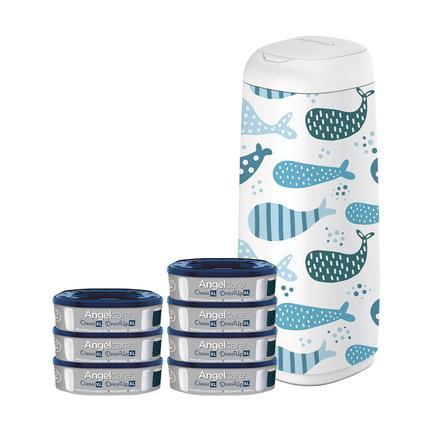 Angelcare® Windeleimer Dress Up XL + 7 Nachfüllkassetten + Bezug: Wal