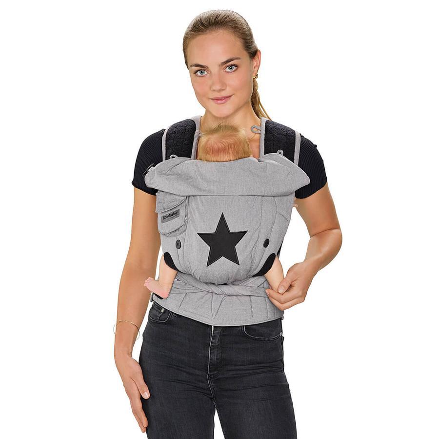 Hoppediz Porte-bébé Bondolino Plus Popeline étoile gris taille unique