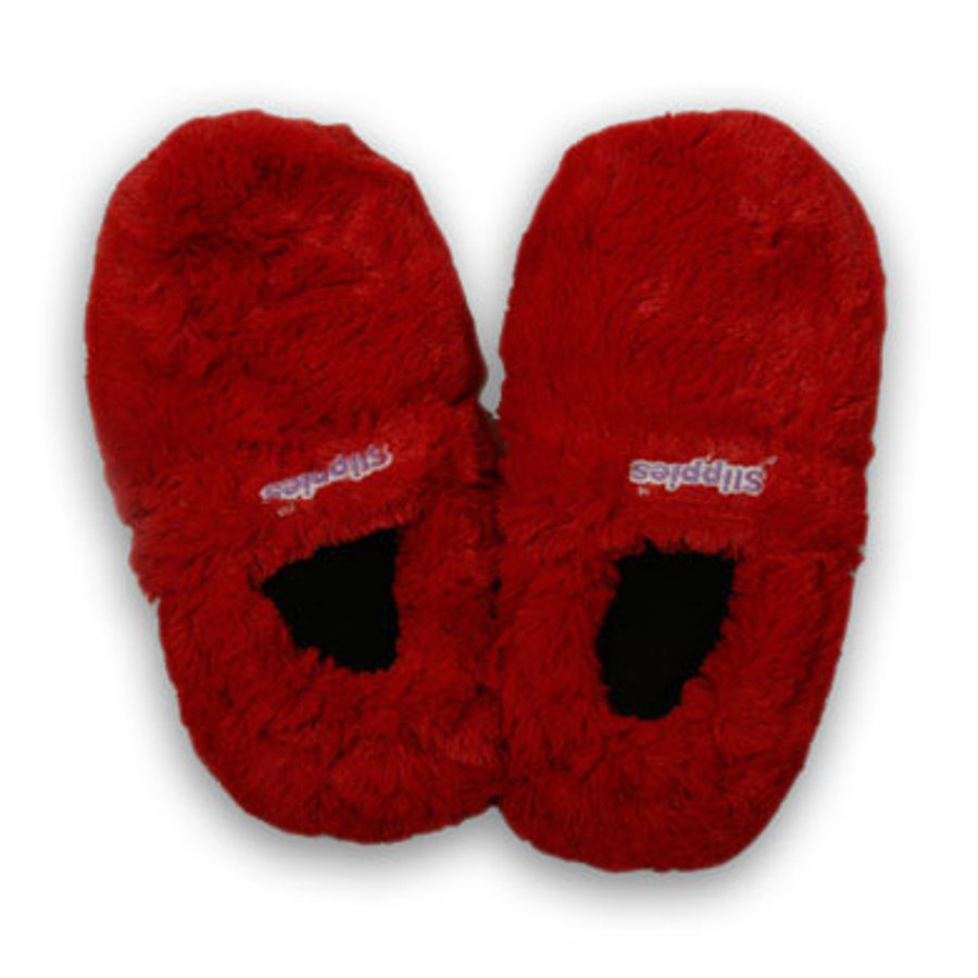 GREENLIFE Slippies Plush Deluxe Foot Warmers for the Microwave Red M