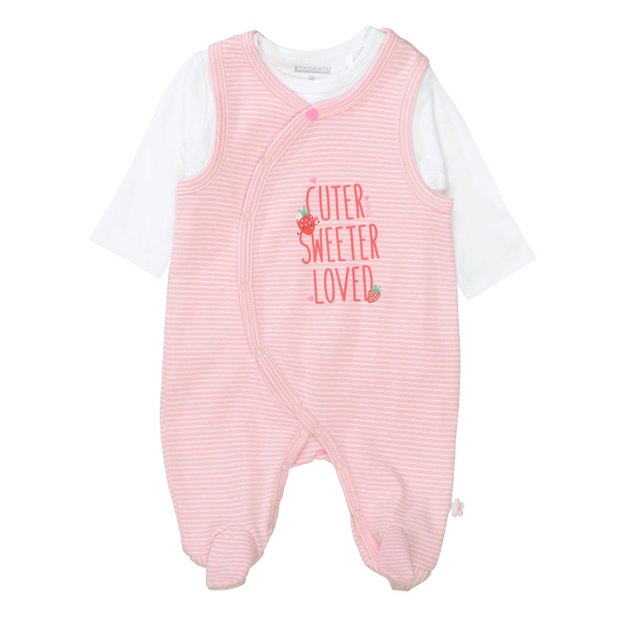 STACCATO Strampler+Shirt soft blush gestreift