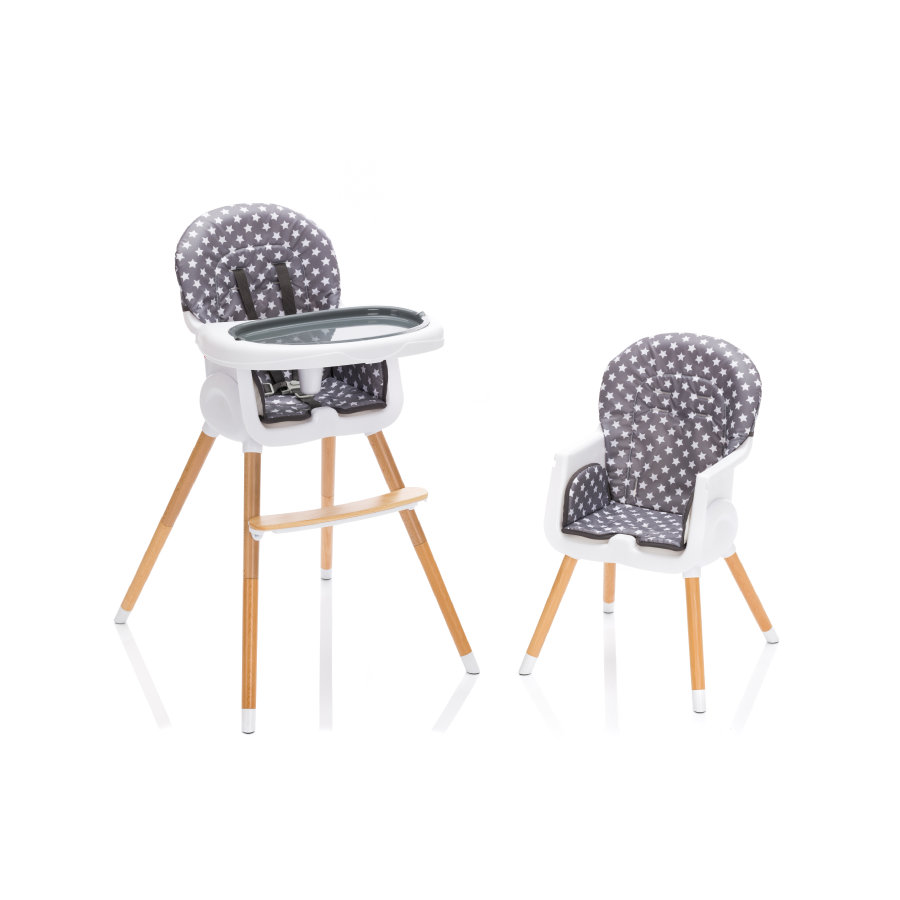 fillikid  La silla alta Paul con patas de madera Estrellas Grises