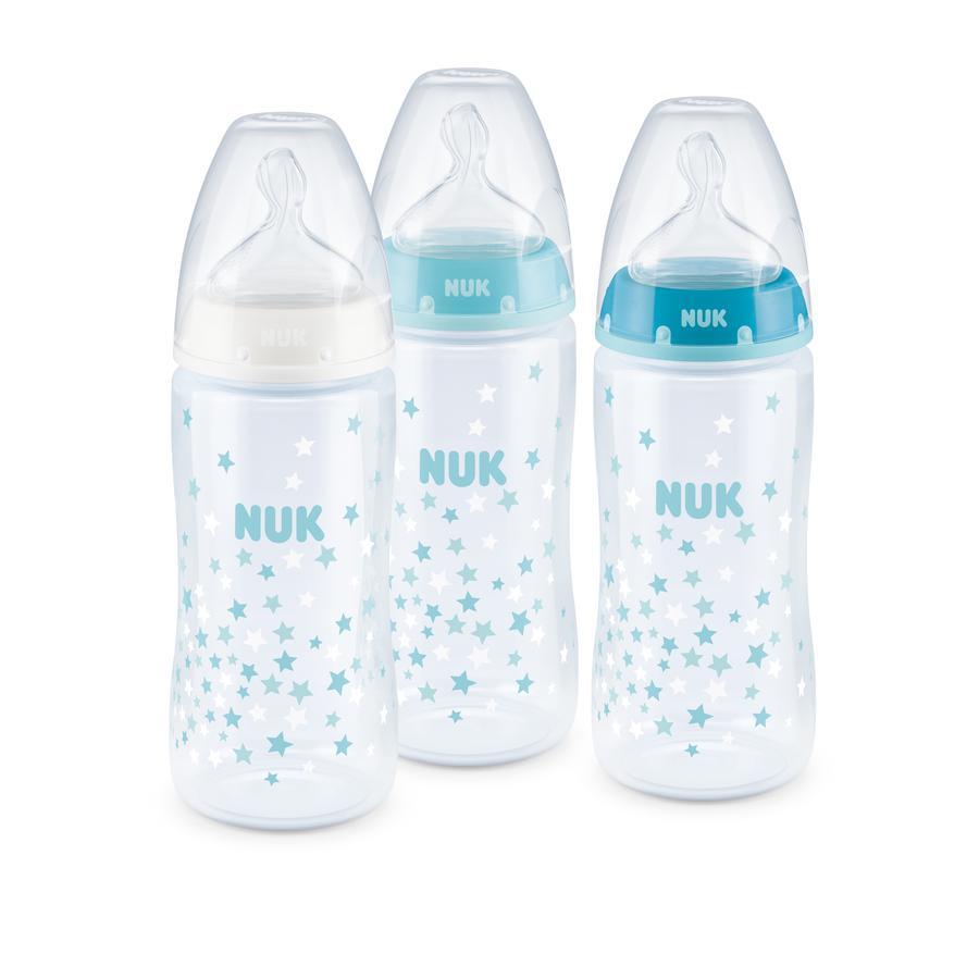 NUK Sett med 3 flasker First Choice Plus Temperaturkontroll Blå