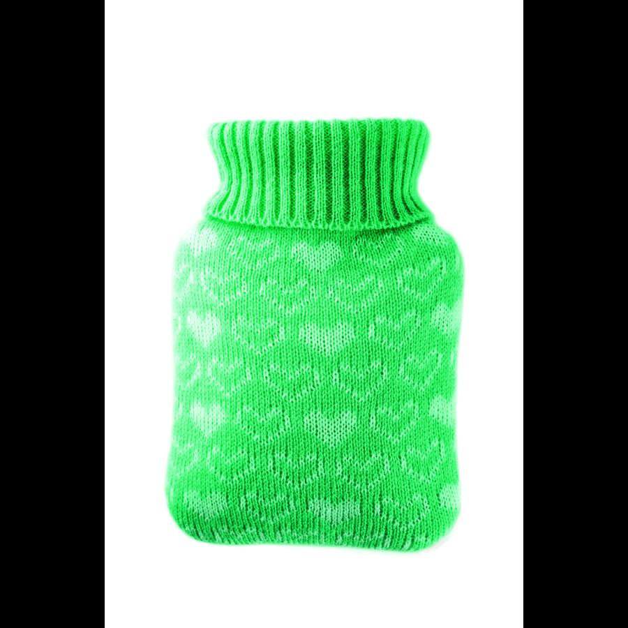 HUGO FROSCH Wärmflasche Mini 0.2 L Strickbezug mint Herzen
