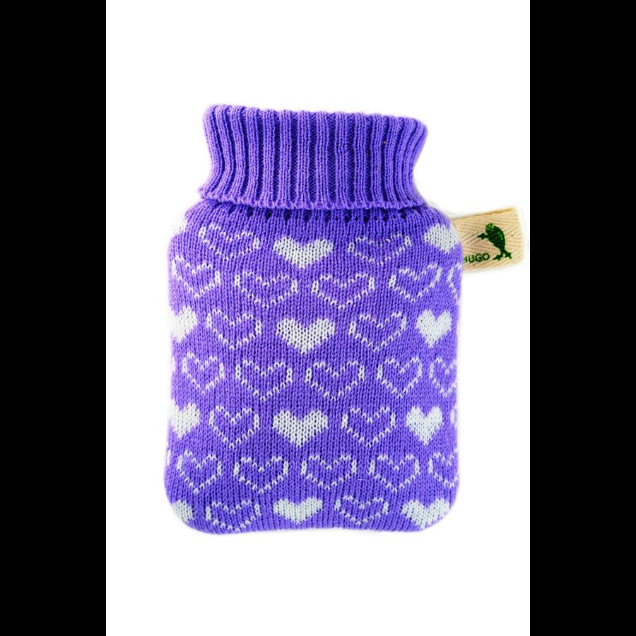HUGO FROSCH Warmwaterfles Mini 0,2 L gebreide hoes paarse harten