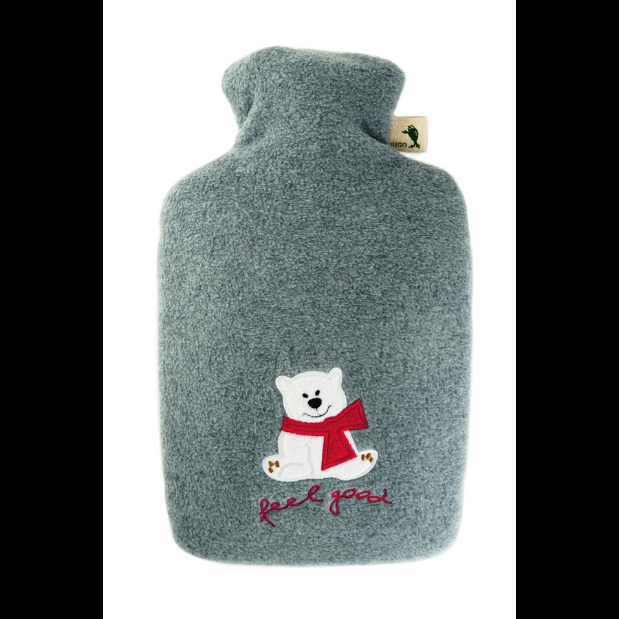 """HUGO FROSCH Varmtvannsflaske klassisk 1,8 L fleece deksel grå """"føles bra"