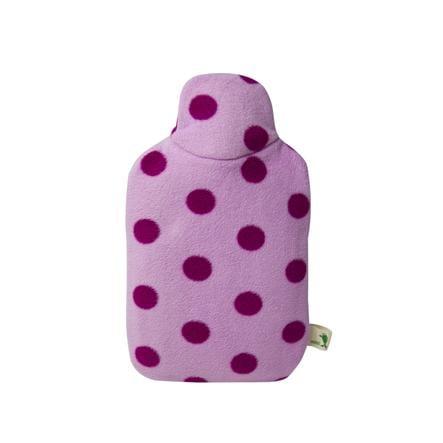HUGO FROSCH Varmvattenflaska Eco 0,8 L fleeceöverdrag rosa prickar