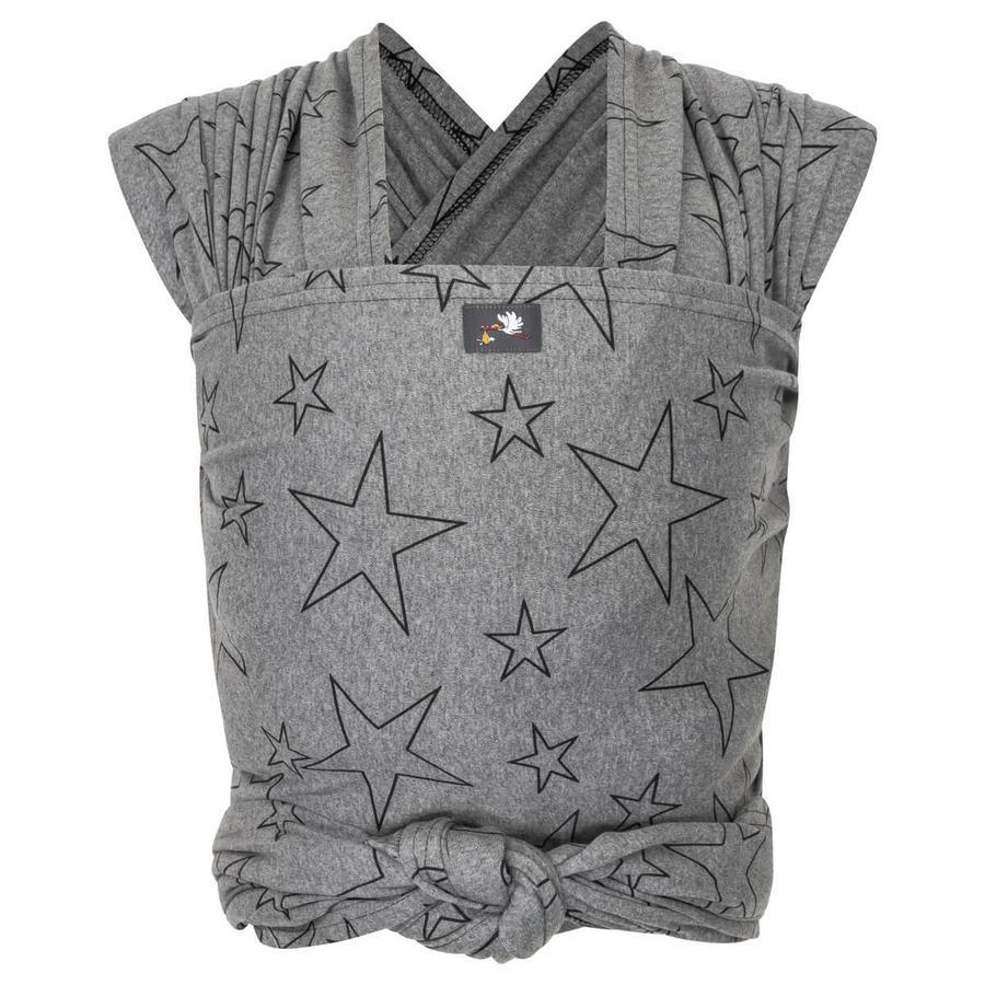 HOPPEDIZ Fular portabebés maxi elástico gris con estrellas