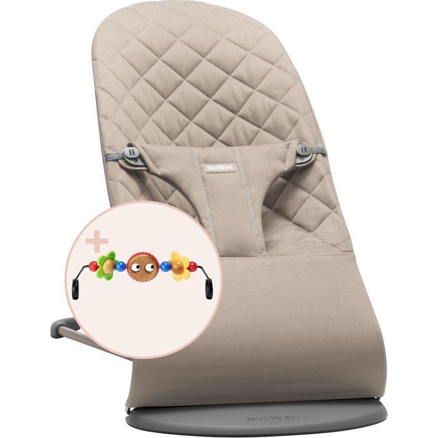 BABYBJÖRN  Bebé de rebote Bliss Sand gris Cotton con juguete de madera