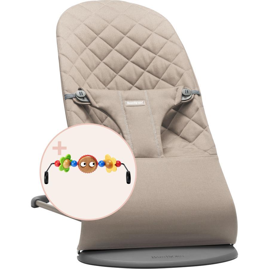 BABYBJÖRN Transat bébé Bliss gris sable, coton, jouet inclus