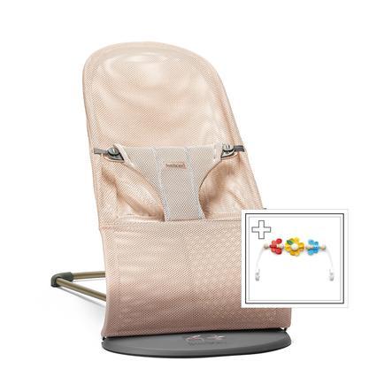 BABYBJÖRN Transat bébé Bliss rose nacré, mesh, jouet inclus