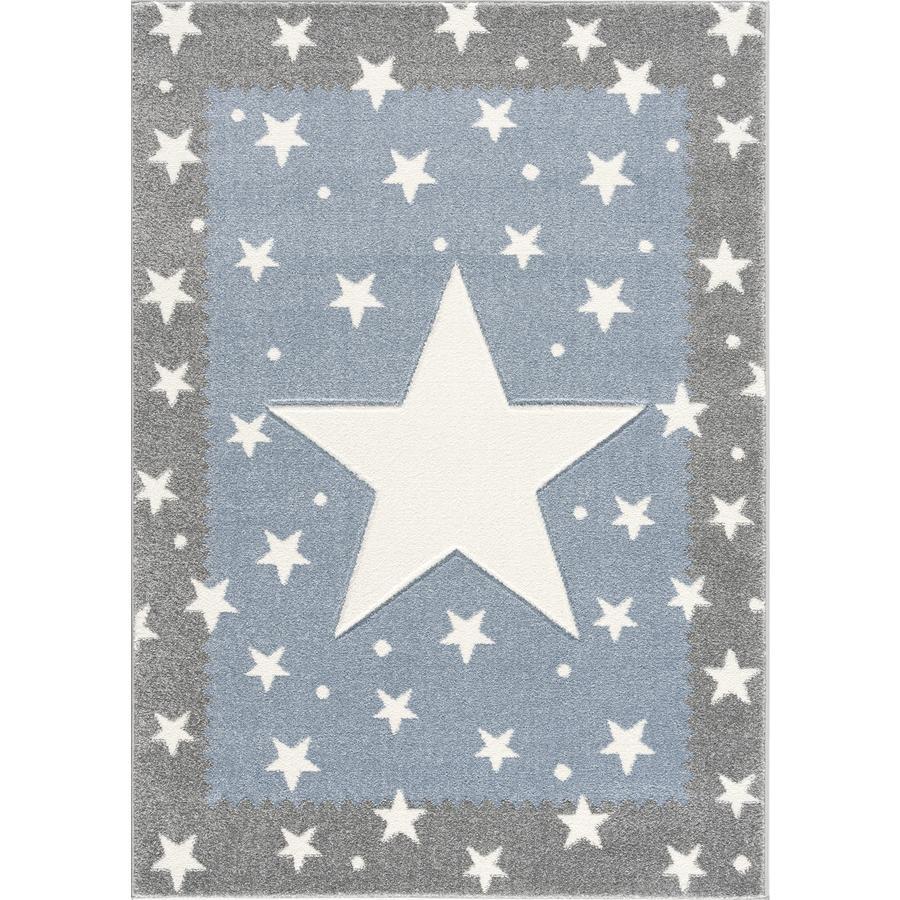 LIVONE lasten matto Lapset rakastavat mattoja hopea FANCY harmaa / sininen 160x220cm