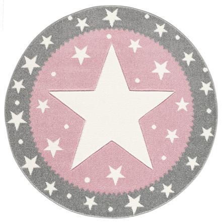 LIVONE lasten matto Lapset rakastavat mattoja hopea FANCY harmaa / vaaleanpunainen 100cm pyöreä